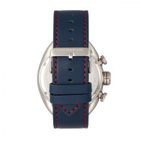 Morphic M64 Series Chronograph Leather-Band Watch w/ Date - Silver/Blue MPH6403