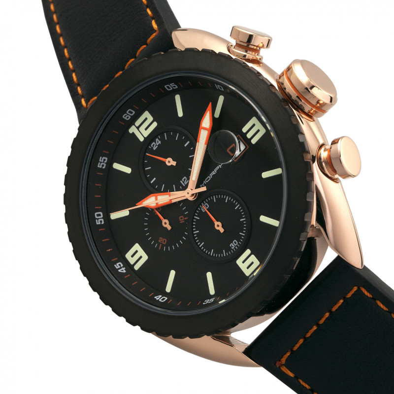 Morphic M64 Series Chronograph Leather-Band Watch w/ Date - Rose Gold/Black MPH6404