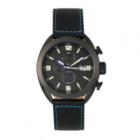 Morphic M64 Series Chronograph Leather-Band Watch w/ Date - Black/Blue MPH6406