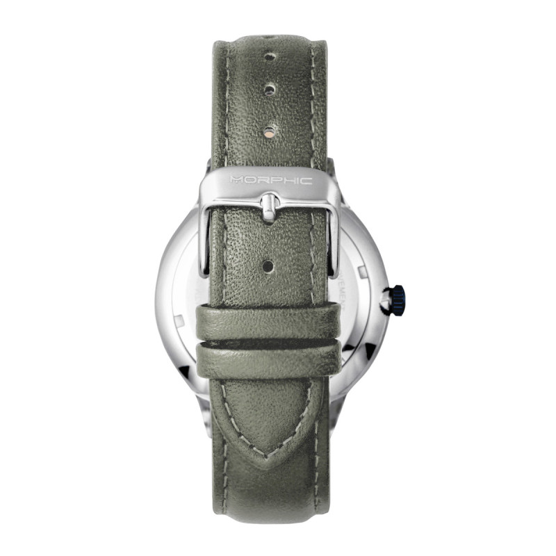 Morphic M65 Series Leather-Band Watch w/Day/Date - Grey MPH6505