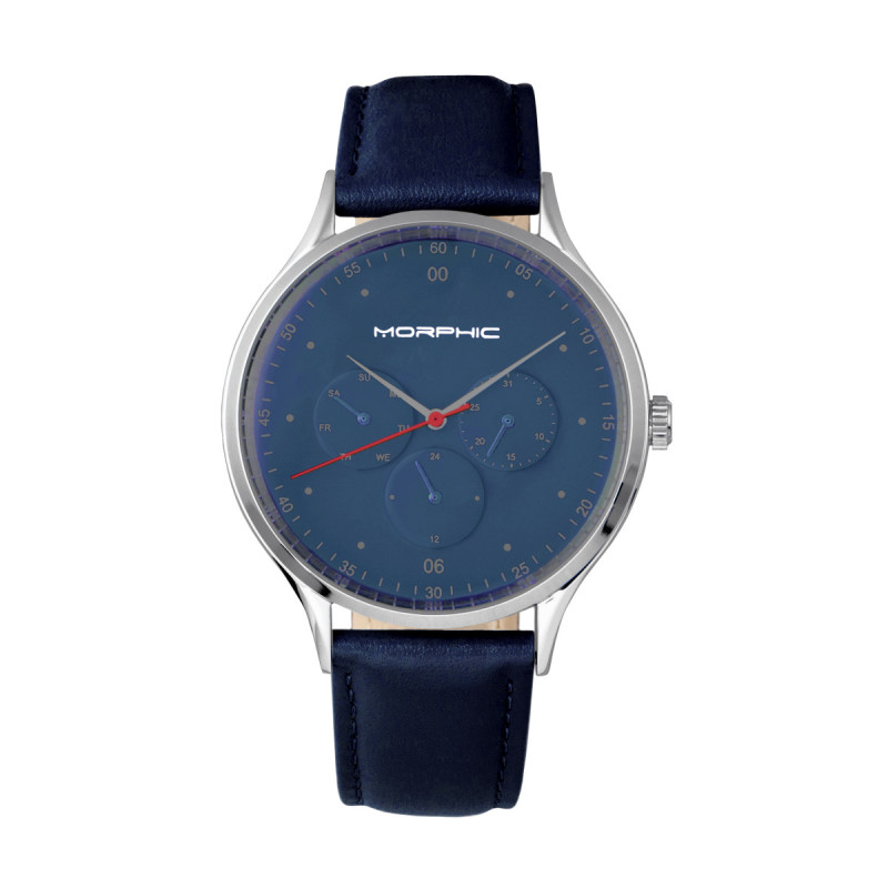 Morphic M65 Series Leather-Band Watch w/Day/Date - Blue MPH6506