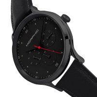 Morphic M65 Series Leather-Band Watch w/Day/Date - Black MPH6507
