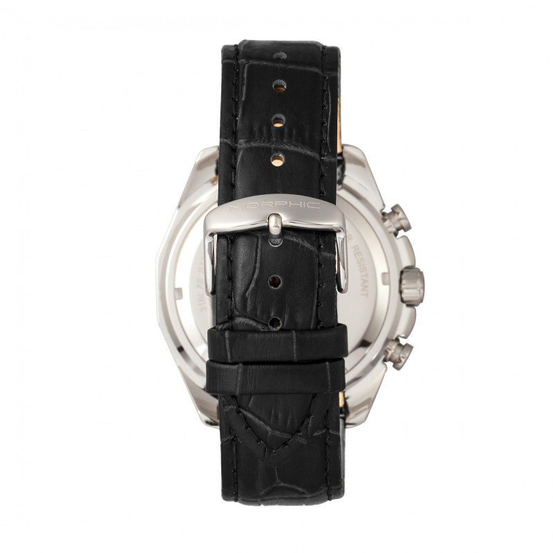 Morphic M66 Series Skeleton Dial Leather-Band Watch w/ Day/Date - Silver/Black MPH6601