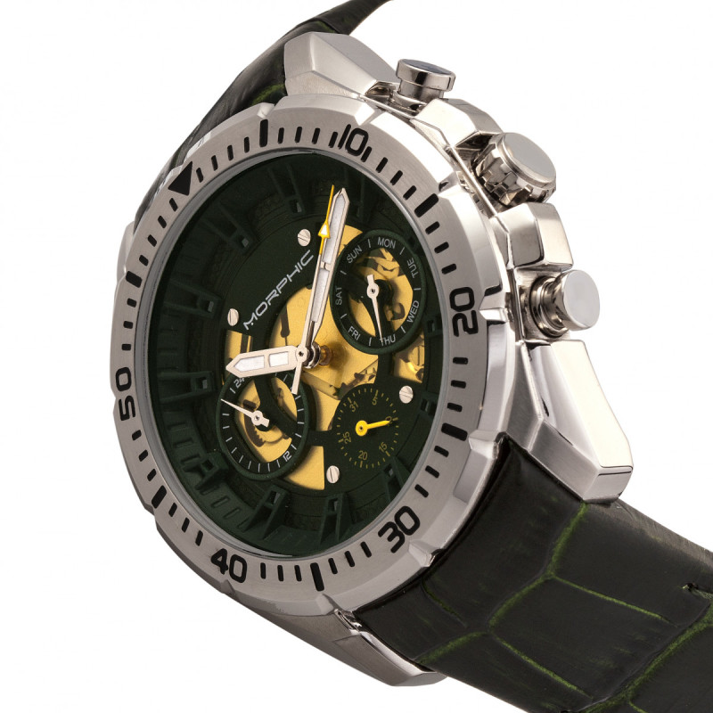 Morphic M66 Series Skeleton Dial Leather-Band Watch w/ Day/Date - Silver/Forest Green MPH6602