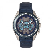 Morphic M66 Series Skeleton Dial Leather-Band Watch w/ Day/Date - Rose Gold/Blue MPH6605