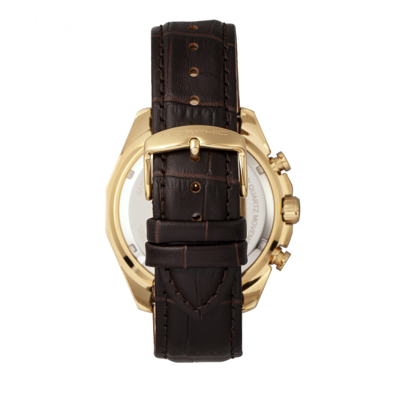 Morphic M66 Series Skeleton Dial Leather-Band Watch w/ Day/Date - Gold/Dark Brown MPH6604