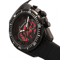 Morphic M66 Series Skeleton Dial Leather-Band Watch w/ Day/Date - Black MPH6606