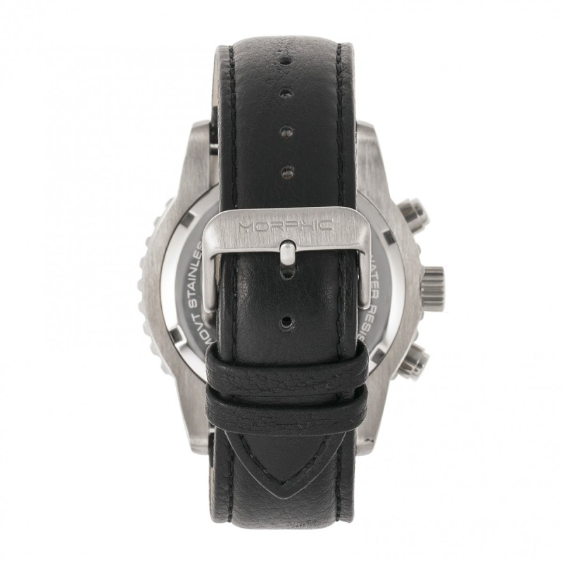 Morphic M67 Series Chronograph Leather-Band Watch w/Date - Silver/Black MPH6701