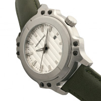 Morphic M68 Series Leather-Band Watch w/ Date - Silver/Olive MPH6801