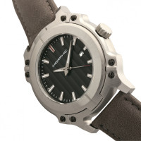 Morphic M68 Series Leather-Band Watch w/ Date - Silver/Grey MPH6802