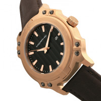 Morphic M68 Series Leather-Band Watch w/ Date - Rose Gold/Brown MPH6804