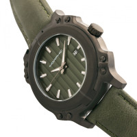 Morphic M68 Series Leather-Band Watch w/ Date - Black/Olive MPH6806