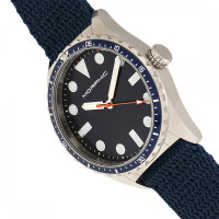 Morphic M69 Series Canvas-Band Watch - Silver/Blue MPH6904