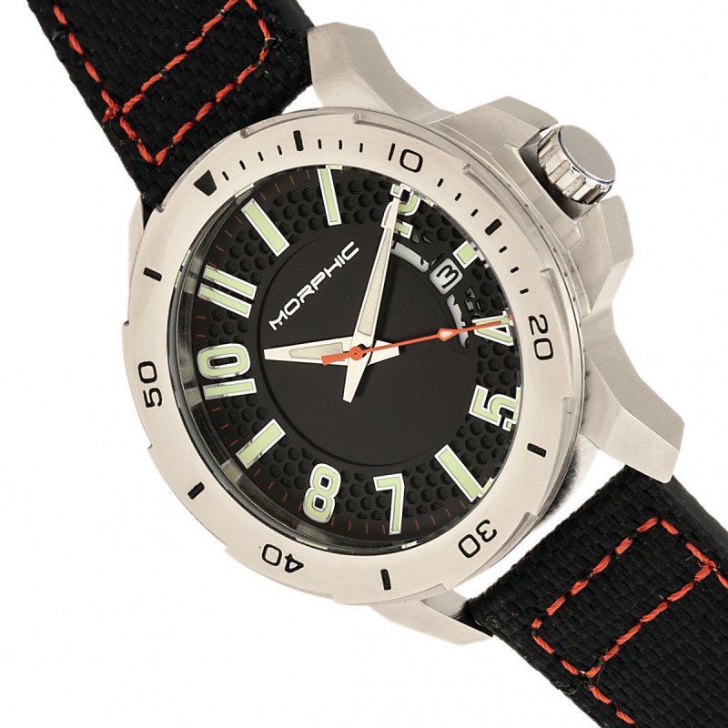Morphic M70 Series Canvas-Overlaid Leather-Band Watch w/Date - Silver/Black MPH7001