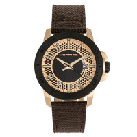 Morphic M70 Series Canvas-Overlaid Leather-Band Watch w/Date - Gold/Black MPH7003