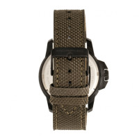 Morphic M70 Series Canvas-Overlaid Leather-Band Watch w/Date - Black/Olive MPH7005