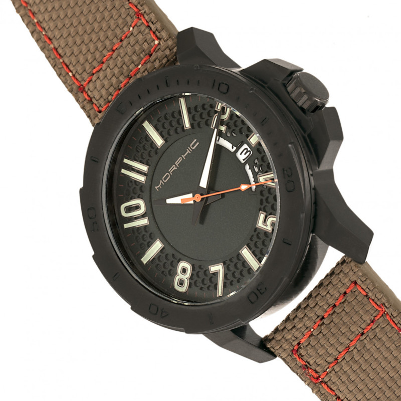 Morphic M70 Series Canvas-Overlaid Leather-Band Watch w/Date - Black/Khaki MPH7006