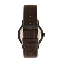 Morphic M71 Series Leather-Band Watch w/Date - Black/Dark Brown MPH7105