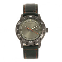 Morphic M71 Series Leather-Band Watch w/Date - Gunmetal/Forest Green MPH7106
