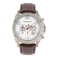 Morphic M73 Series Chronograph Leather-Band Watch - Silver MPH7301
