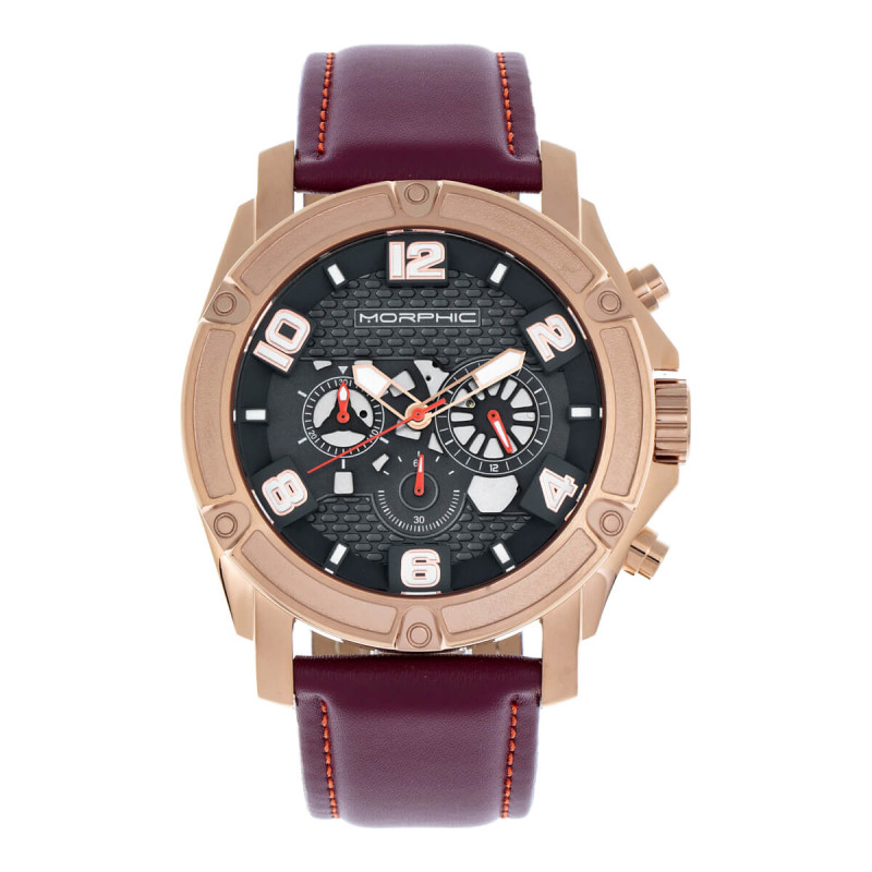 Morphic M73 Series Chronograph Leather-Band Watch - Rose Gold/Charcoal MPH7305