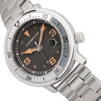 Morphic M74 Series Bracelet Watch w/Magnified Date Display - Gunmetal/Silver/Brown MPH7402