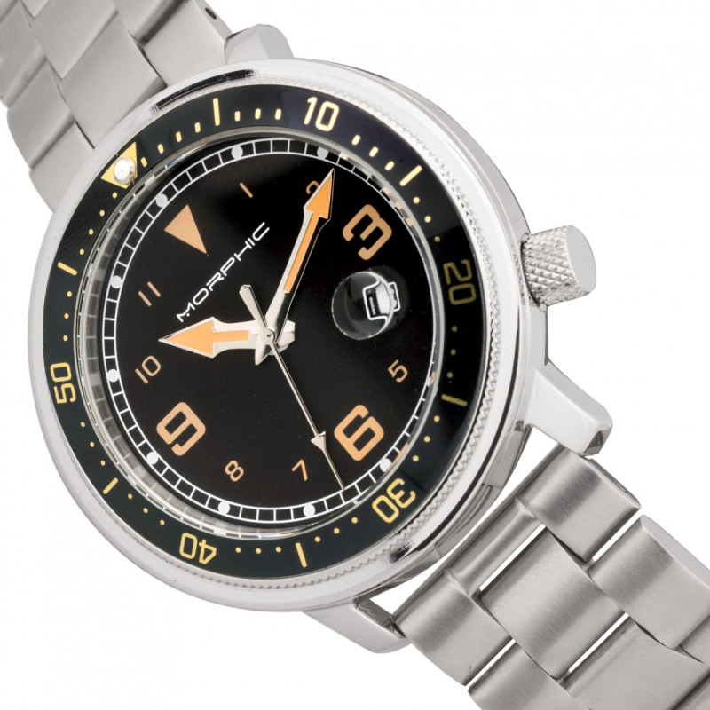 Morphic M74 Series Bracelet Watch w/Magnified Date Display - Gunmetal/Black & Gold/Black MPH7406