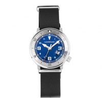 Morphic M74 Series Leather-Band Watch w/Magnified Date Display - Black/Grey/Blue MPH7408