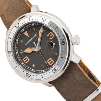 Morphic M74 Series Leather-Band Watch w/Magnified Date Display - Brown/Silver/Black MPH7409