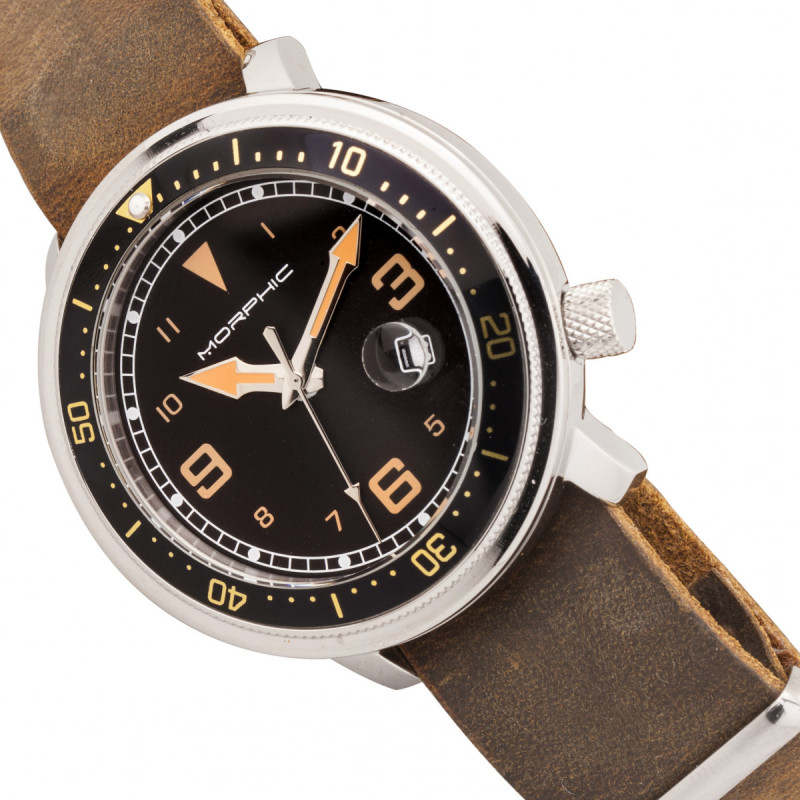 Morphic M74 Series Leather-Band Watch w/Magnified Date Display - Brown/Black & Gold/Black MPH7411