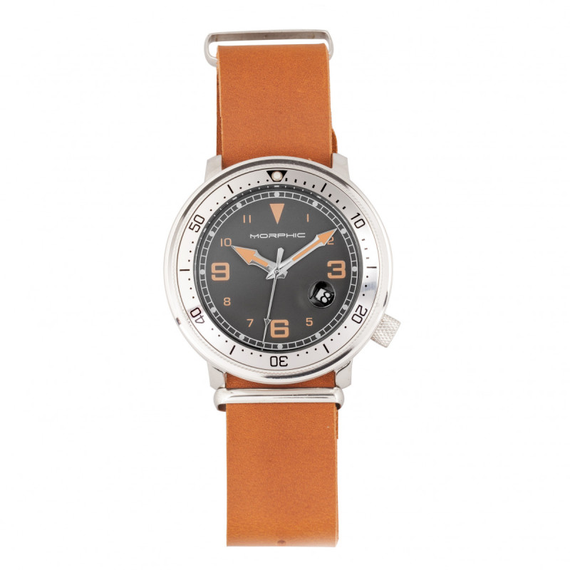 Morphic M74 Series Leather-Band Watch w/Magnified Date Display - Camel/Silver/Brown MPH7412