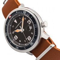 Morphic M74 Series Leather-Band Watch w/Magnified Date Display - Camel/Black & Silver/Black MPH7414