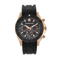 Morphic M75 Series Tachymeter Strap Watch w/Day/Date - Rose Gold/Blue MPH7504