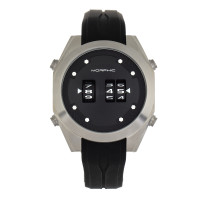 Morphic M76 Series Drum-Roll Strap Watch - Silver/Black MPH7601