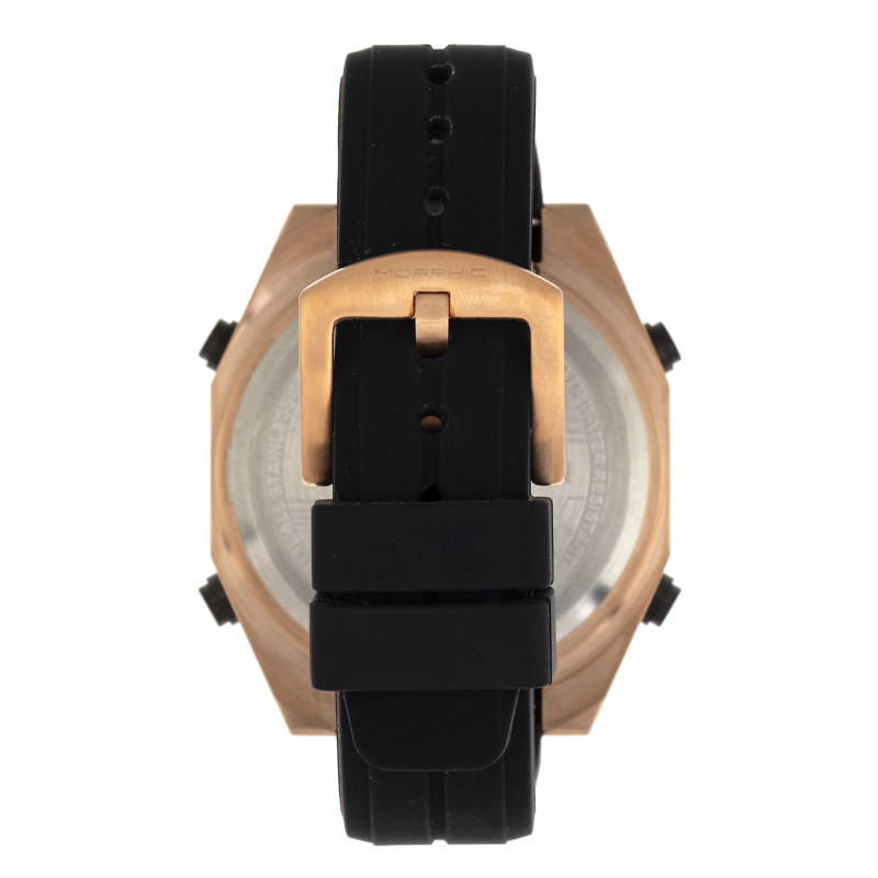 Morphic M76 Series Drum-Roll Strap Watch - Rose Gold/Black MPH7603