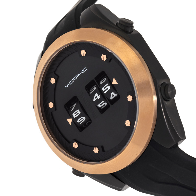 Morphic M76 Series Drum-Roll Strap Watch - Black/Rose Gold MPH7605