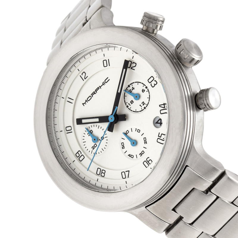 Morphic M78 Series Chronograph Bracelet Watch - Silver/White MPH7801