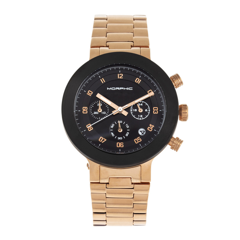 Morphic M78 Series Chronograph Bracelet Watch - Rose Gold/Black MPH7806