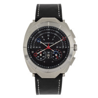 Morphic M79 Series Chronograph Leather-Band Watch - Silver/Black MPH7905