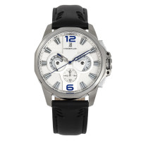 Morphic M82 Series Chronograph Leather-Band Watch w/Date - Silver/Black MPH8202