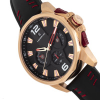 Morphic M82 Series Chronograph Leather-Band Watch w/Date - Rose Gold/Black MPH8204
