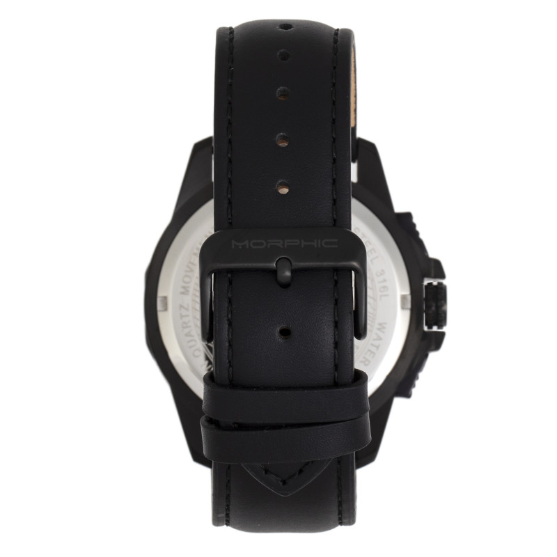 Morphic M82 Series Chronograph Leather-Band Watch w/Date - Black MPH8205