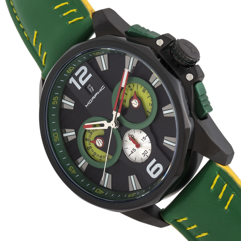 Morphic M82 Series Chronograph Leather-Band Watch w/Date - Black/Green MPH8206