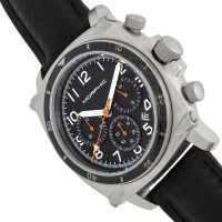Morphic M83 Series Chronograph Leather-Band Watch w/ Date - Silver/Black MPH8304
