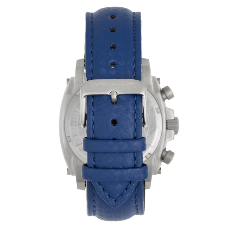 Morphic M83 Series Chronograph Leather-Band Watch w/ Date - Silver/Blue MPH8305