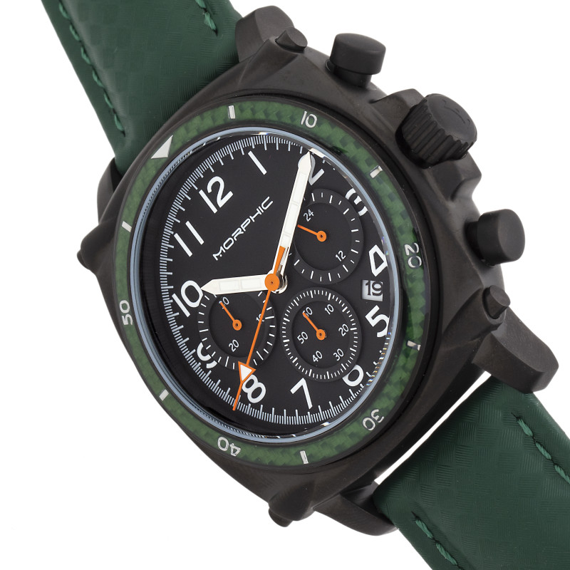 Morphic M83 Series Chronograph Leather-Band Watch w/ Date - Black/Green MPH8307