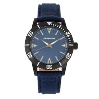 Morphic M85 Series Canvas-Overlaid Leather-Band Watch - Black/Beige MPH8503