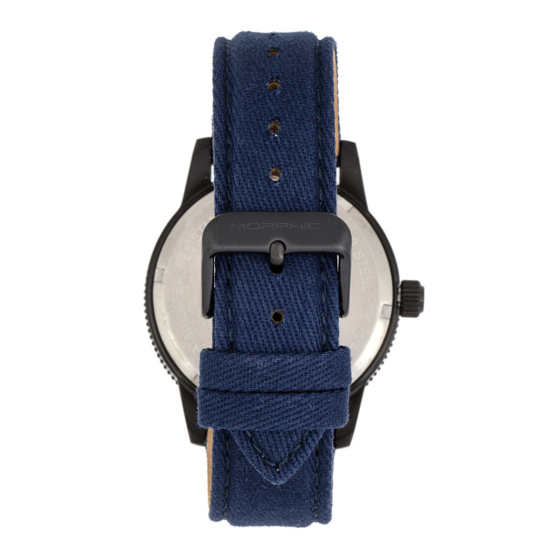 Morphic M85 Series Canvas-Overlaid Leather-Band Watch - Black/Blue MPH8504