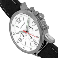 Morphic M86 Series Chronograph Leather-Band Watch - Silver/White MPH8601