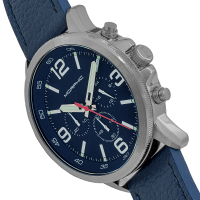 Morphic M86 Series Chronograph Leather-Band Watch - Silver/Navy MPH8603